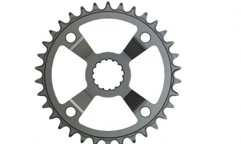 34T Narrow Wide Chainring for Bosch cx Hyperglide+ Compatible, Black Anodized